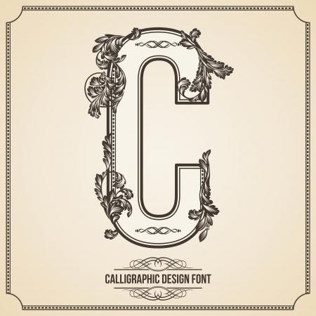 あなたの作品の文字体裁の花要素とデザイン フォントの漢字。ページ装飾用いい。手紙 c.