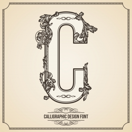 Calligraphic Design Font with Typographic Floral Elements for your Artworks. Nice for Page Decoration. Letter C.