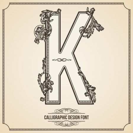 Calligraphic Design Font with Typographic Floral Elements for your Artworks. Nice for Page Decoration. Letter K. Vector