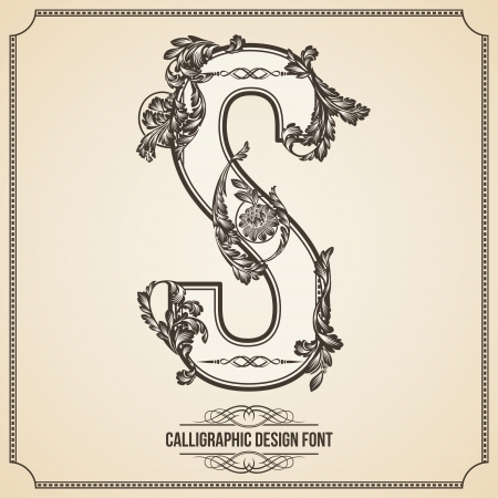 Calligraphic Design Font with Typographic Floral Elements for your Artworks. Nice for Page Decoration. Letter S. 向量圖像