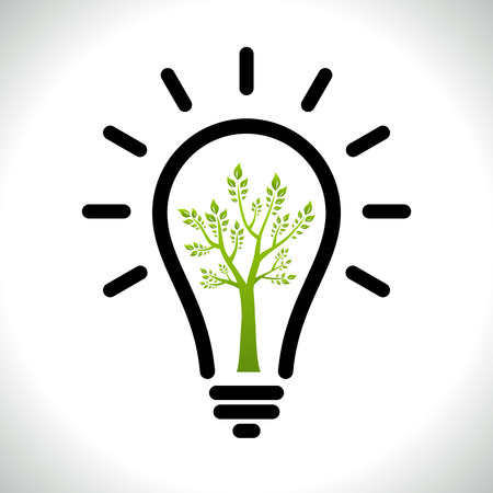Modern infographic template. Light bulb with Green tree icon inside. Business Eco ?oncept Idea Vector