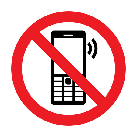 handphone: No Cell Phone Vector Sign