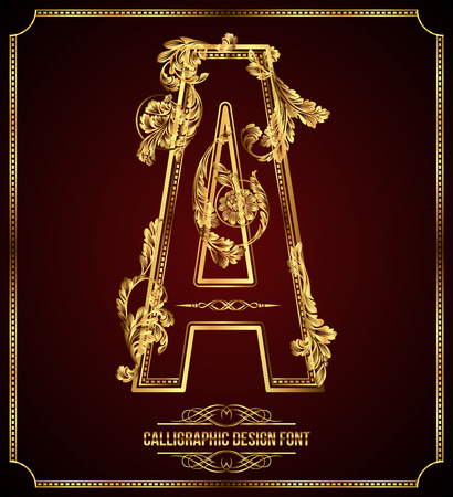 aristocratic: Calligraphic Design Font with Typographic Floral Elements Gold Letter A