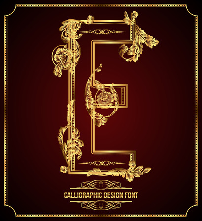 aristocratic: Calligraphic Design Font with Typographic Floral Elements Gold Letter E Illustration