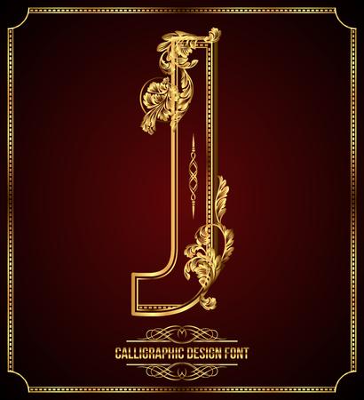 Calligraphic Design Font with Typographic Floral Elements. Premium design elements on dark background. Page Decoration. Retro Vector Gold Letter J