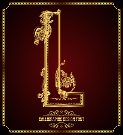 l background: Calligraphic Design Font with Typographic Floral Elements Gold Letter L