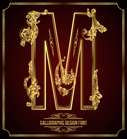 Calligraphic Design Font with Typographic Floral Elements Gold Letter M