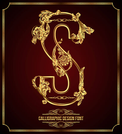 Calligraphic Design Font with Typographic Floral Elements Gold Letter S Illustration