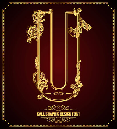 Calligraphic Design Font with Typographic Floral Elements Gold Letter U Vector