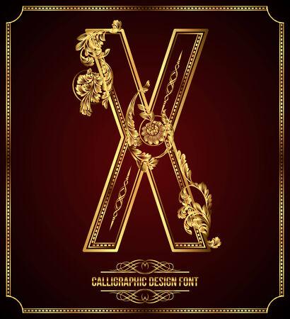letras de oro: Caligráficos Diseño Fuente con elementos florales tipográfico Oro Letra X