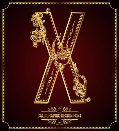letters gold: Calligraphic Design Font with Typographic Floral Elements Gold Letter X