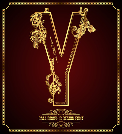golden font: Calligraphic Design Font with Typographic Floral Elements. Premium design elements on dark background. Page Decoration. Retro Vector Gold Letter Y