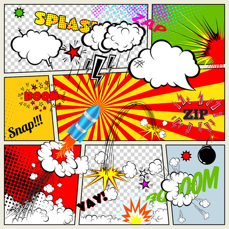 cartoon rocket: Set of Retro Comic Book Vector Design elements, Speech and Thought Bubbles