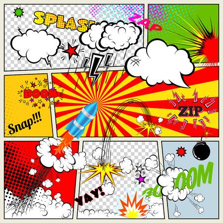 retro art: Set van Retro Comic Book Vector Design elementen, spraak en dacht bubbels Stock Illustratie