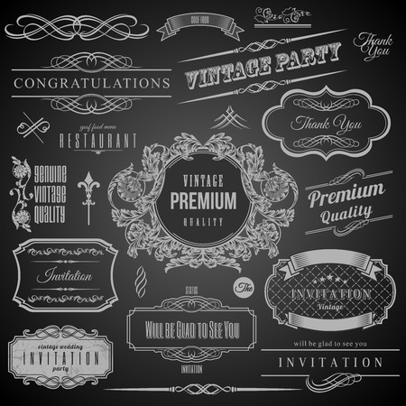 Retro Calligraphic design elements. Invitation frame. Collection of Frames and decorative vector elements Vector