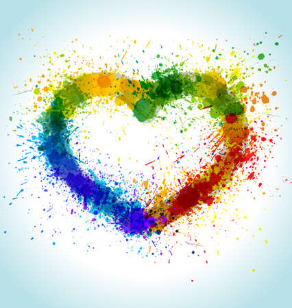 Color Paint Splashes Heart Background. Gradient Vector Love Frame. photo