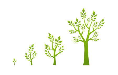 growth: �rbol verde concepto de eco crecimiento Vectores