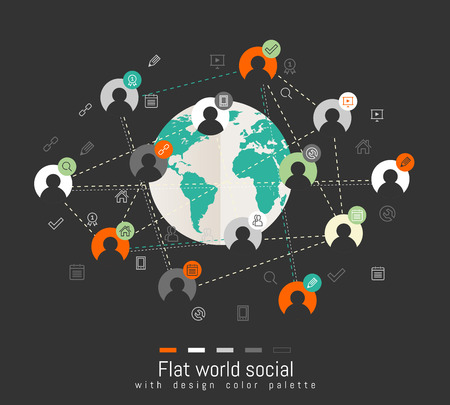 Flat design concept with world map and social network concept Vector