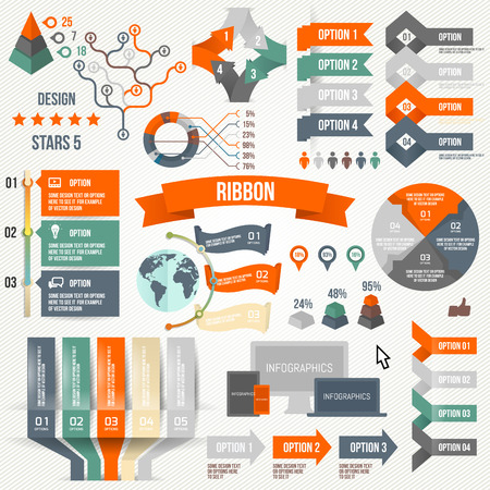Infographics set with options. Infographic, Ribbon, Logo, Icon and 3d Vector Elements. Social Communication Concept. Vector
