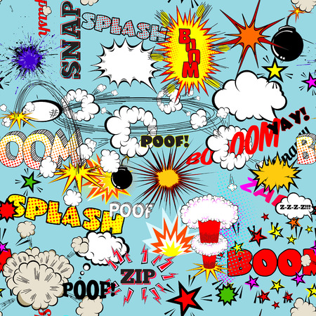 comic strip: Vector Retro Seamless Pattern with Comic Speech Bubbles, Labels, Logos and Comic Book Words