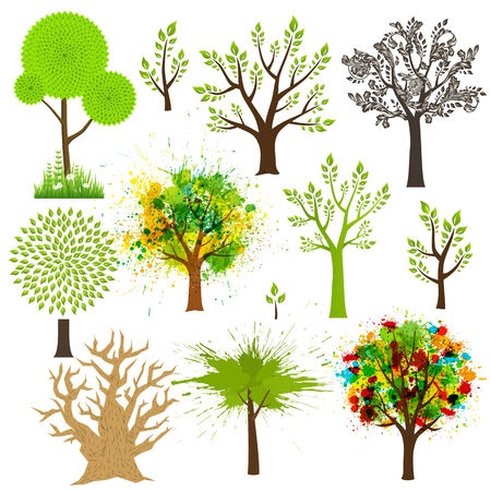 Tree super collection of different styles Illustration