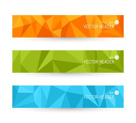 footer: Vector banner backgrounds. Website header set