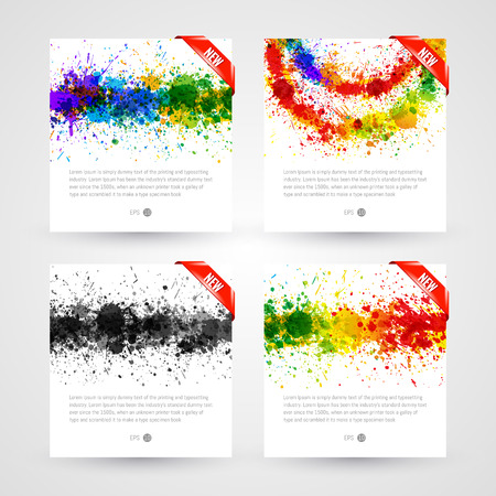 Set of bright paint splashes vector watercolor background. Eps 10 vector illustration