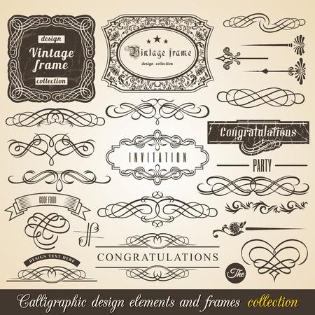 Vector Calligraphic element Border Corner Frame and Invitation Collection. Decoration Typographic Elements, Vintage Labels, Ribbons. Invitation design vector illustration