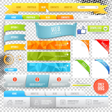Vector Web Elements. Buttons, geometric banner backgrounds, options flags Vector