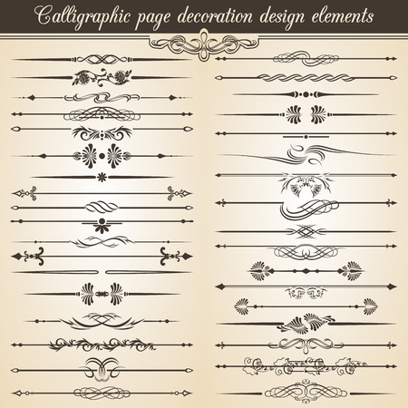 calligraphic: Calligraphic vintage page decoration design elements. Vector Card Invitation Text Decoration