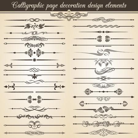 Kalligrafische vintage pagina decoratie elementen. Vector uitnodigingskaart Tekst Decoratie Stock Illustratie