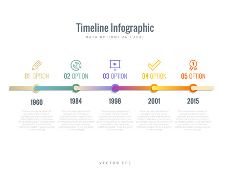 time line: Timeline Infographic with diagrams, options and text Illustration