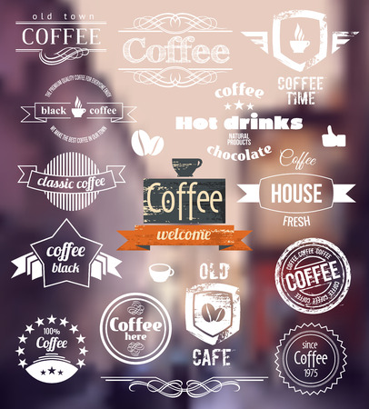 barista: Coffee icon. Old Town Stamp concept. Vector Retro coffee Badges and Labels