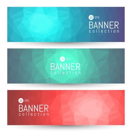 polygonal: Site Banner Collection. Headers Set. Hero Backgrounds Illustration