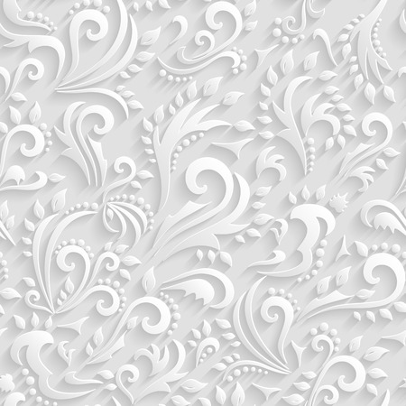 ベクトル花ビクトリア朝シームレスな背景。折り紙 3 d の招待状、結婚式、紙のカード装飾的なパターン  イラスト・ベクター素材