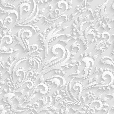 Vector Bloemen Victoriaanse Naadloze Achtergrond. Origami 3d Uitnodiging, bruiloft, papier kaarten Decoratief Patroon
