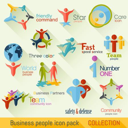 전세계에: 플랫 비즈니스 사람들이 아이콘 모음입니다. 기업의 정체성