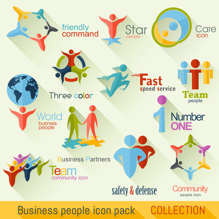 Flat Business People icon Collection. Corporate Identity Vector