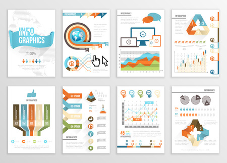 Big Set of Infographics Elements Business Illustrations, Flyer, Presentation. Modern Info Graphics and Social Media Marketing. Infographyc Pages Template Vector