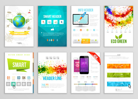 elemento: Set di Flyer, Brochure, sfondo, design Banner. Vector poster Modelli. Vernice schizzi Abstract per biglietti da visita