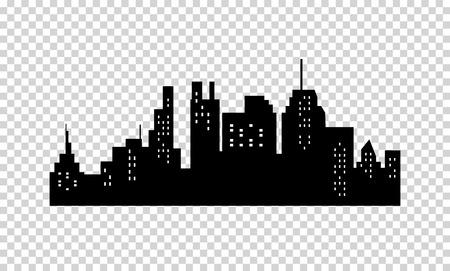 silhouette maison: Ville Silhouette