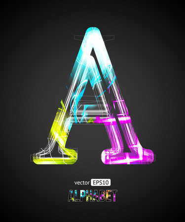 Vector Design Light Effect Alphabet. Letter A on a Black Background.