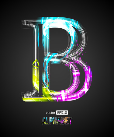 letters of the alphabet: Vector Design Light Effect Alphabet. Letter B on a Black Background.