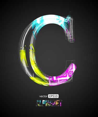 Vector Design Light Effect Alphabet. Letter C on a Black Background. Ilustração