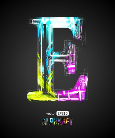 Vector Design Light Effect Alphabet. Letter E on a Black Background. Ilustração