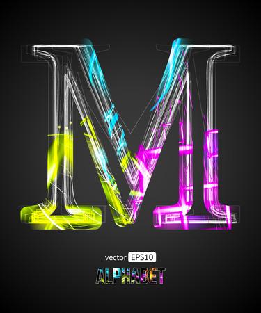 Vector Design Light Effect Alphabet. Letter M on a Black Background. Ilustração