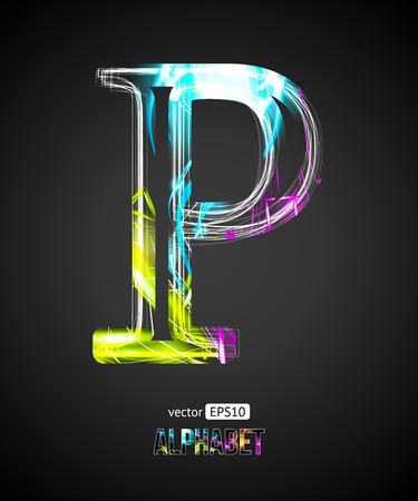 Vector Design Light Effect Alphabet. Letter P on a Black Background. Ilustrace