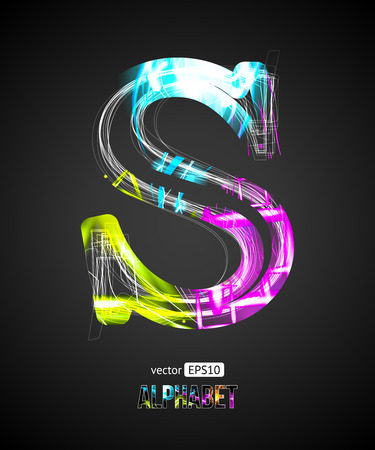 Vector Design Light Effect Alphabet. Letter S on a Black Background.