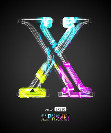 letter x: Vector Design Light Effect Alphabet. Letter X on a Black Background. Illustration