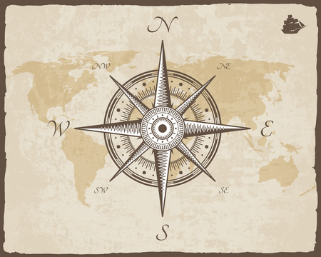Vintage Nautical Compass. Old Map Vector Paper Texture with Torn Border Frame. Wind rose